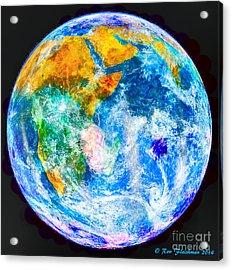 Earth Moon Merger Acrylic Print by Ron Fleishman