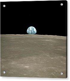 Earthrise Over Moon Acrylic Print by Nasa