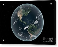 Earths Western Hemisphere With Rise Acrylic Print by Walter Myers