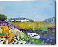 Easdale Cottages Acrylic Print by Peter Tarrant