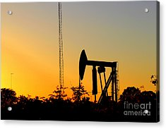 East Texas Pumpjack At Sunset Acrylic Print by Kathy  White