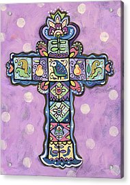 Easter Cross On Orchid Acrylic Print by Jen Norton