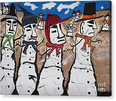 Easter Island Snow Men Acrylic Print by Jeffrey Koss