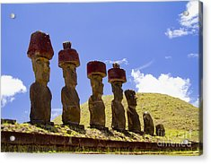 Easter Island Statues  Acrylic Print by David Smith