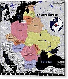 Eastern Europe Exotic Map Acrylic Print by Florene Welebny