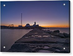 Eastern Point Lighthouse Just Before Sunrise Gloucester Ma Acrylic Print