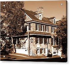 Easton Pa - Bachmann Publik House In Sepia Acrylic Print by Jacqueline M Lewis
