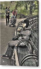 Eating Alone In Central Park Acrylic Print by David Bearden