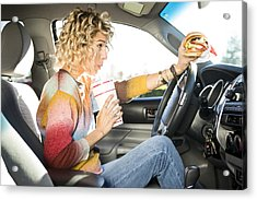 Eating Fast Food Hamburgers And Driving. Acrylic Print by Jordan Siemens