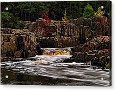 Waterfall Under Colored Leaves Acrylic Print