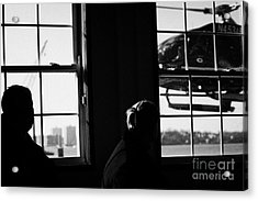 Ec130 American Eurocopter Comes In To Land Watched By Two Passengers New York Acrylic Print