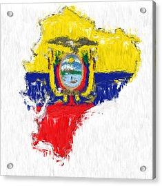 Ecuador Painted Flag Map Acrylic Print by Antony McAulay
