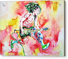 Eddie Van Halen Playing And Jumping Watercolor Portrait Acrylic Print