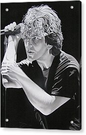 Eddie Vedder Black And White Acrylic Print by Joshua Morton