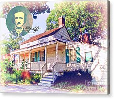 Edgar Allan Poe Cottage With Signature Acrylic Print by Nishanth Gopinathan