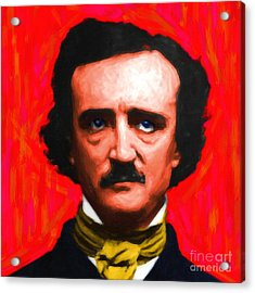 Edgar Allan Poe - Painterly - Square Acrylic Print by Wingsdomain Art and Photography