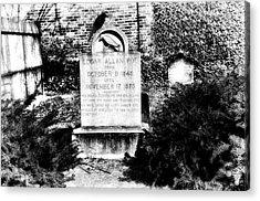 Edgar Allen Poe Grave Site Baltimore Acrylic Print by Bill Cannon