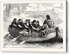 Edgar The Peaceable Being Rowed Down The Dee By Eight Acrylic Print