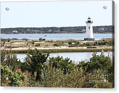 Edgartown Lighthouse With Wildflowers Acrylic Print by Carol Groenen
