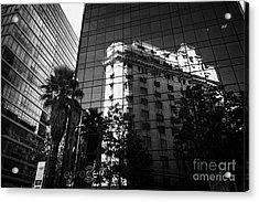 edificio ariztia building reflected in modern bank buildings in the financial district of Santiago Chile Acrylic Print by Joe Fox