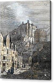 Edinburgh Castle Scotland 1833 Acrylic Print by Scottish School
