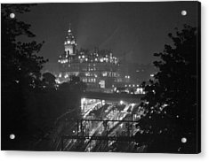 Edinburgh Night Rain Acrylic Print