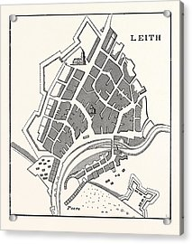 Edinburgh Plan Of Leith Showing The Eastern Fortifications Acrylic Print by English School