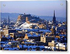 Acrylic Print featuring the photograph Edinburgh Castle Winter by Craig B