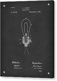 Edison Electric Lamp 1882 Patent Art Black Acrylic Print by Prior Art Design
