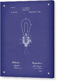 Edison Electric Lamp 1882 Patent Art Blue Acrylic Print by Prior Art Design