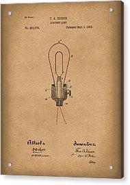 Edison Electric Lamp 1882 Patent Art Brown Acrylic Print by Prior Art Design