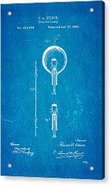Edison Electric Lamp Patent Art 1880 Blueprint Acrylic Print by Ian Monk