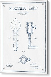 Edison Electric Lamp Patent From 1882  - Blue Ink Acrylic Print by Aged Pixel