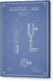 Edison Electric Lamp Patent From 1882 - Light Blue Acrylic Print by Aged Pixel