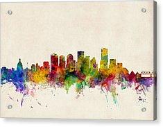 Edmonton Canada Skyline Acrylic Print by Michael Tompsett