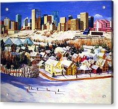 Edmonton In Winter Acrylic Print by Nel Kwiatkowska