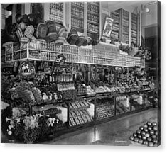 Edw. Neumann, Broadway Market, Detroit, Michigan, C.1905-15 Bw Photo Acrylic Print by Detroit Publishing Co.