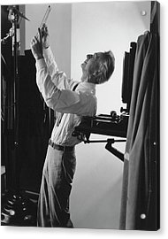 Edward Steichen Examining A Negative Acrylic Print