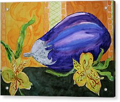 Acrylic Print featuring the painting Eggplant And Alstroemeria by Beverley Harper Tinsley