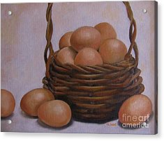 Eggs In A Basket Acrylic Print by Karen Olson