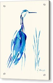 Egret In Blue Mixed Media Acrylic Print by Frank Bright