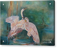 Egrets In The Mist Acrylic Print