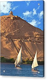 Egypt, Aswan, Nile River, Felucca Acrylic Print