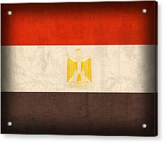 Egypt Flag Distressed Vintage Finish Acrylic Print