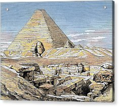 Egypt Pyramids And Sphinx Colored Acrylic Print by Prisma Archivo