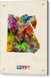 Egypt Watercolor Map Acrylic Print by Michael Tompsett