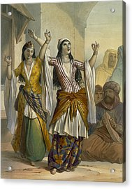 Egyptian Dancing Girls Performing Acrylic Print by Emile Prisse d'Avennes