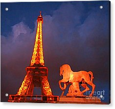 Eiffel Tower And Horse Acrylic Print by John Malone