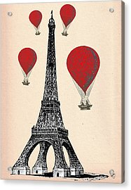 Eiffel Tower And Red Hot Air Balloons Acrylic Print by Kelly McLaughlan