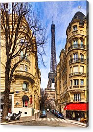 Eiffel Tower And The Streets Of Paris Acrylic Print
